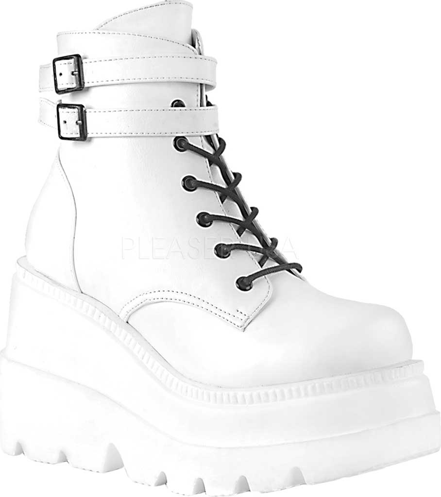 Women's Demonia Shaker 52 Platform Ankle Boot, White Vegan Leather, large, image 1