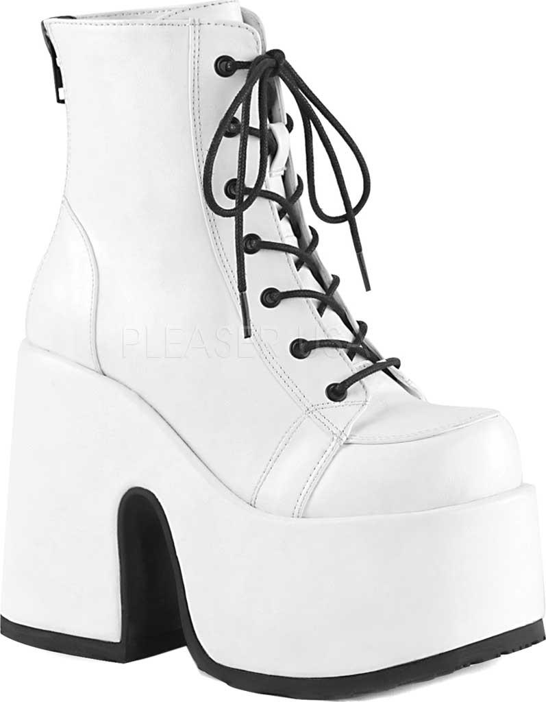 Women's Demonia Camel 203 Platform Ankle Boot, White Vegan Leather, large, image 1