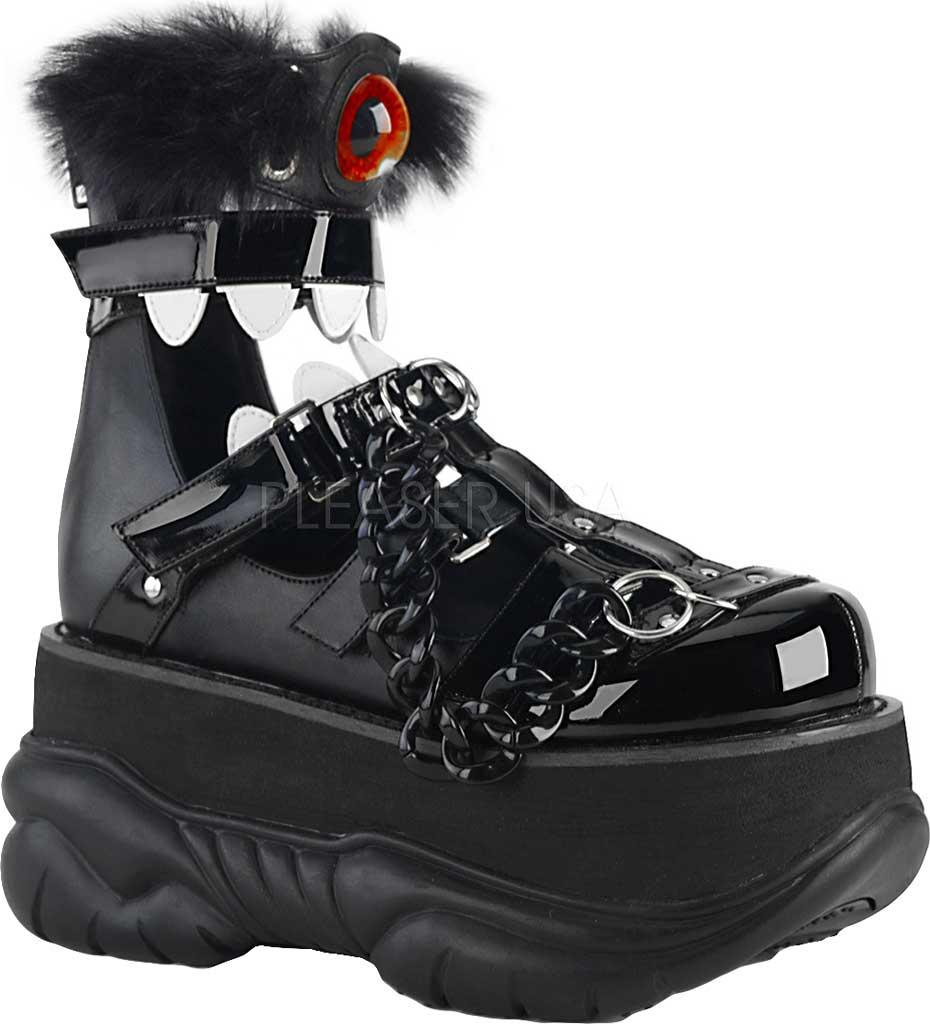 Men's Demonia Neptune 150 Platform Bootie, Black Vegan Leather/Black Patent, large, image 1
