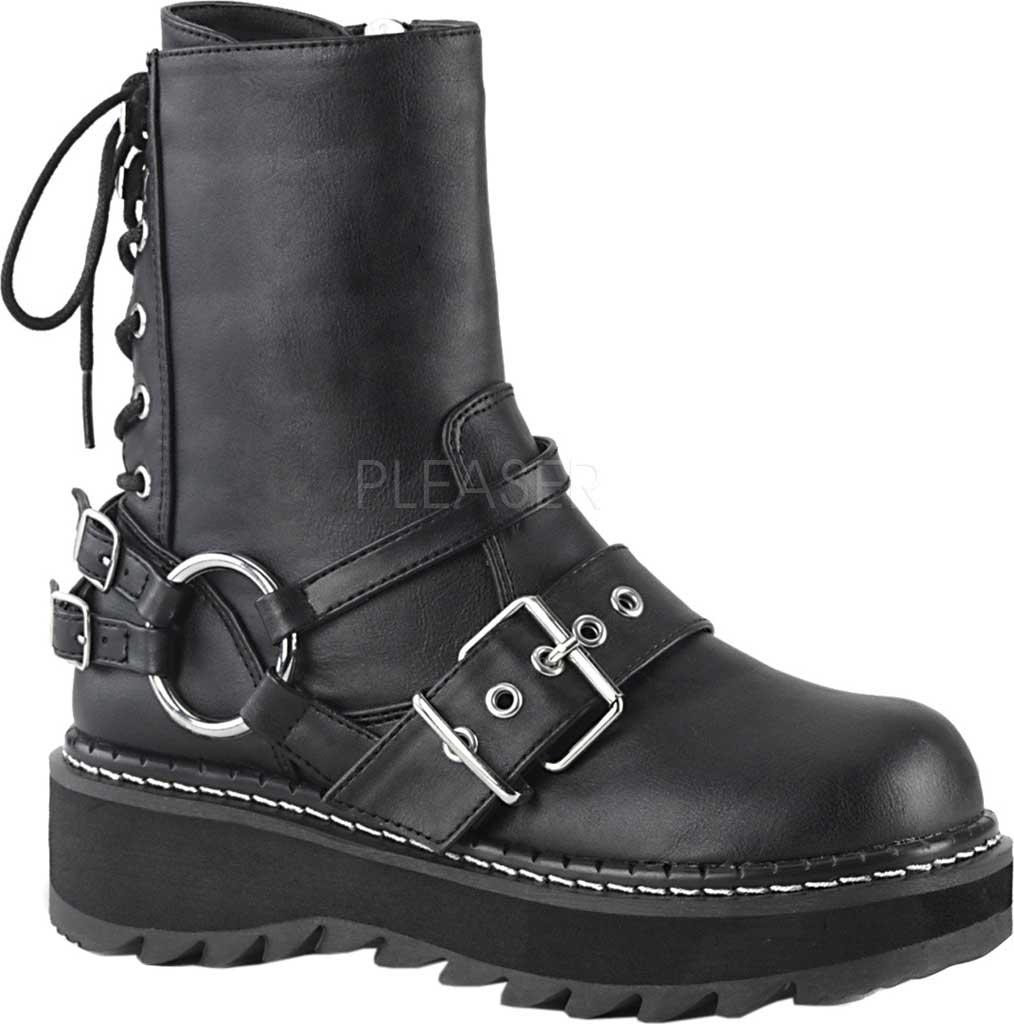 Women's Demonia Lilith Harness Boot, Black Vegan Leather, large, image 1