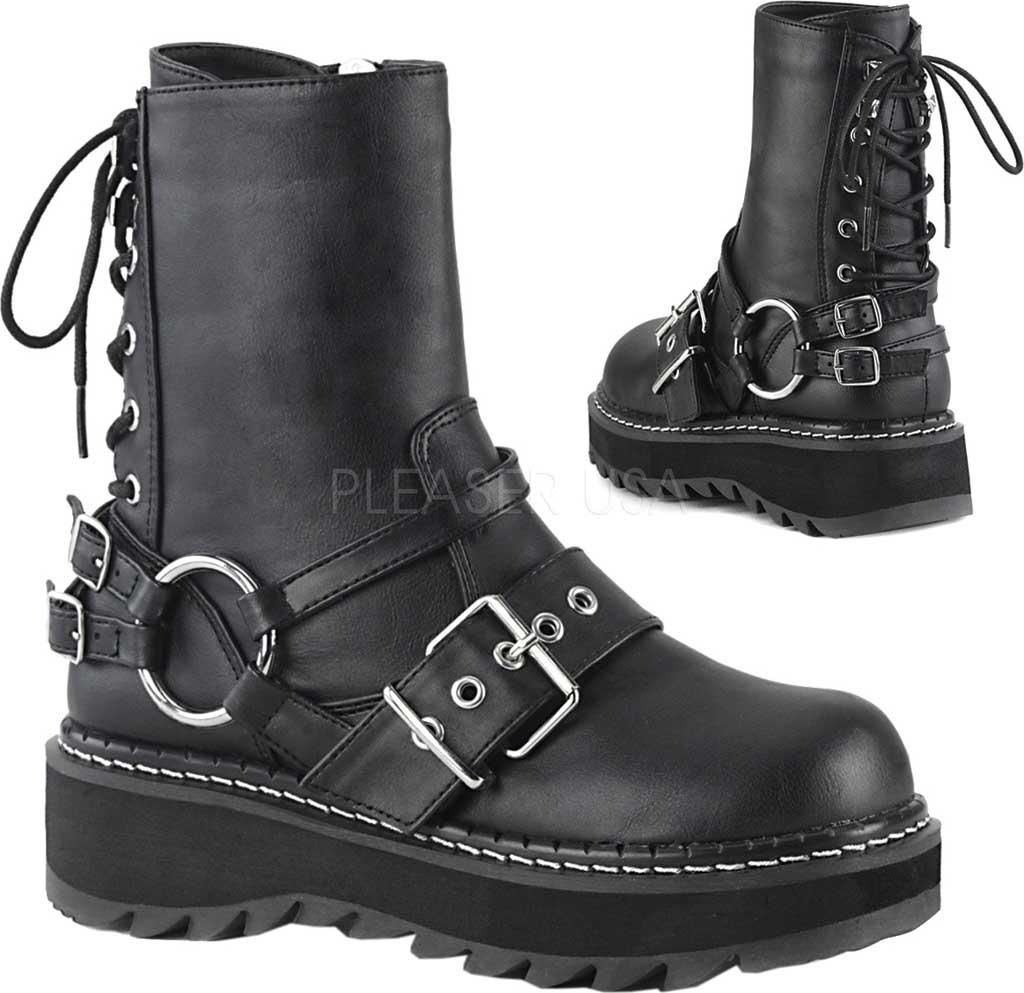 Women's Demonia Lilith Harness Boot, Black Vegan Leather, large, image 2