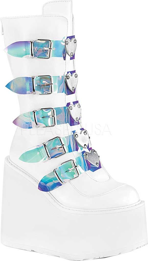 Women's Demonia Swing 230 Platform Mid-Calf Boot, White Vegan Leather, large, image 1