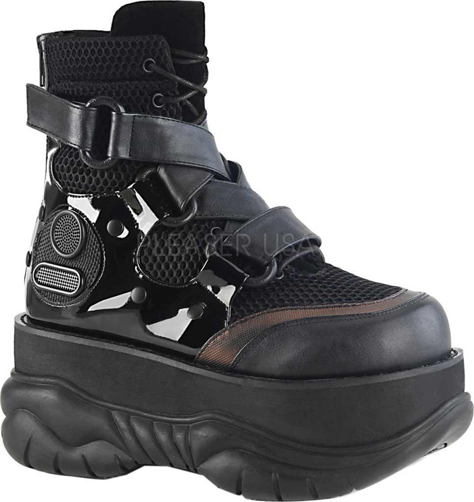 Men's Demonia Neptune 126 Platform Ankle Bootie, Black Vegan Leather/Fishnet Fabric/Patent, large, image 1