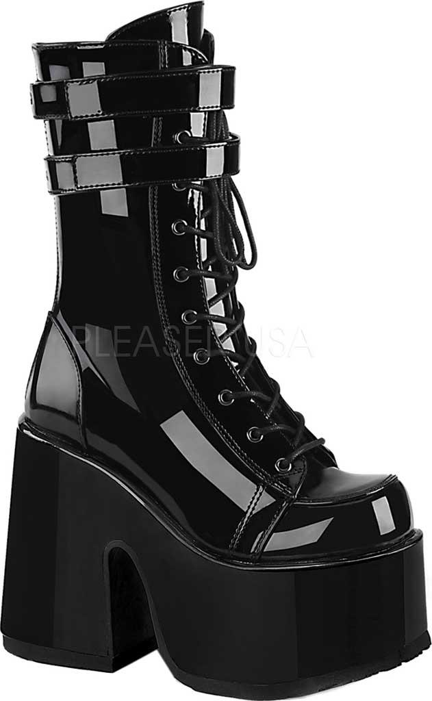 Women's Demonia Camel 250 Mid-Calf Platform Boot, Black Patent, large, image 1