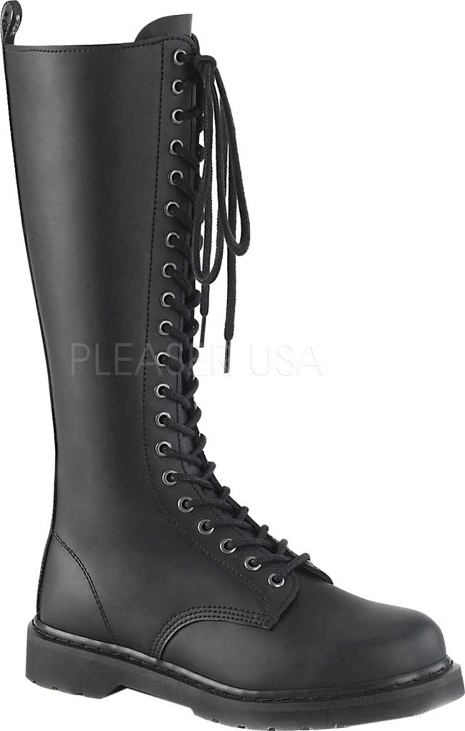 Demonia Bolt 400 Knee High Boot, Black Vegan Leather, large, image 1