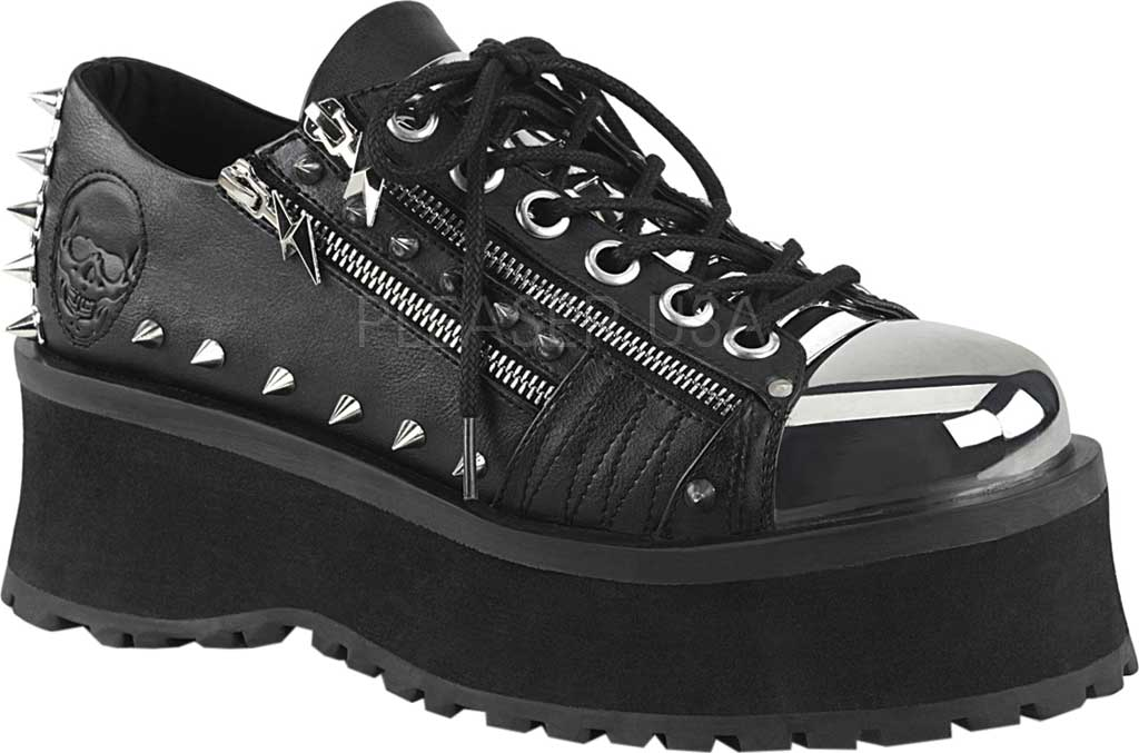 Demonia Gravedigger 04 Platform Oxford, Black Vegan Leather, large, image 1