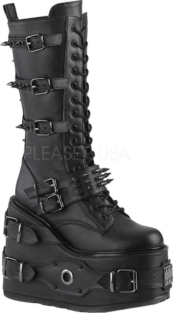 Women's Demonia Swing 327 Knee High Boot, Black Vegan Leather, large, image 1
