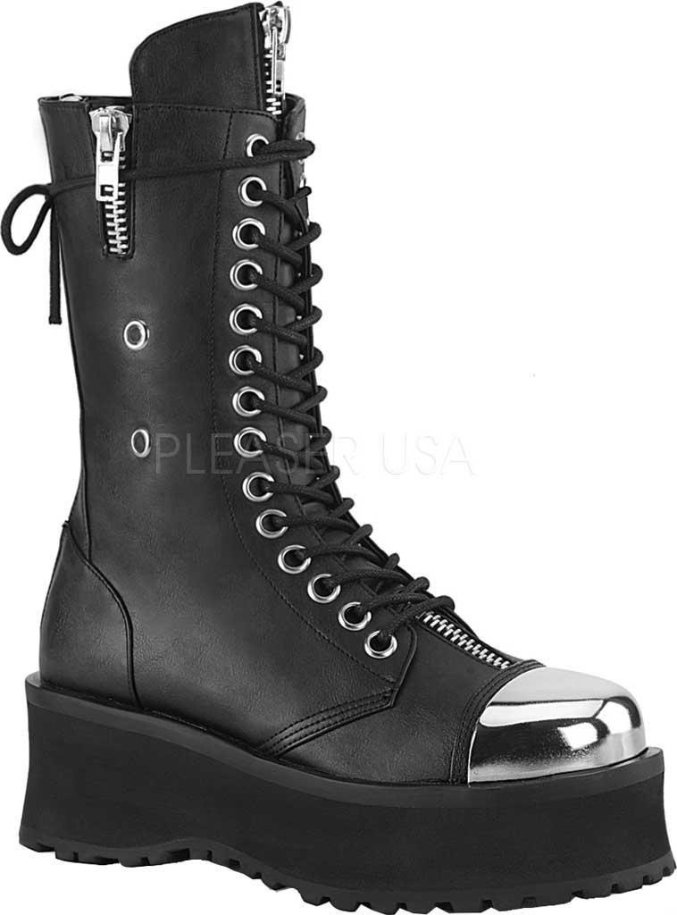 Men's Demonia Gravedigger 14 Mid Calf Boot, Black Vegan Leather, large, image 1