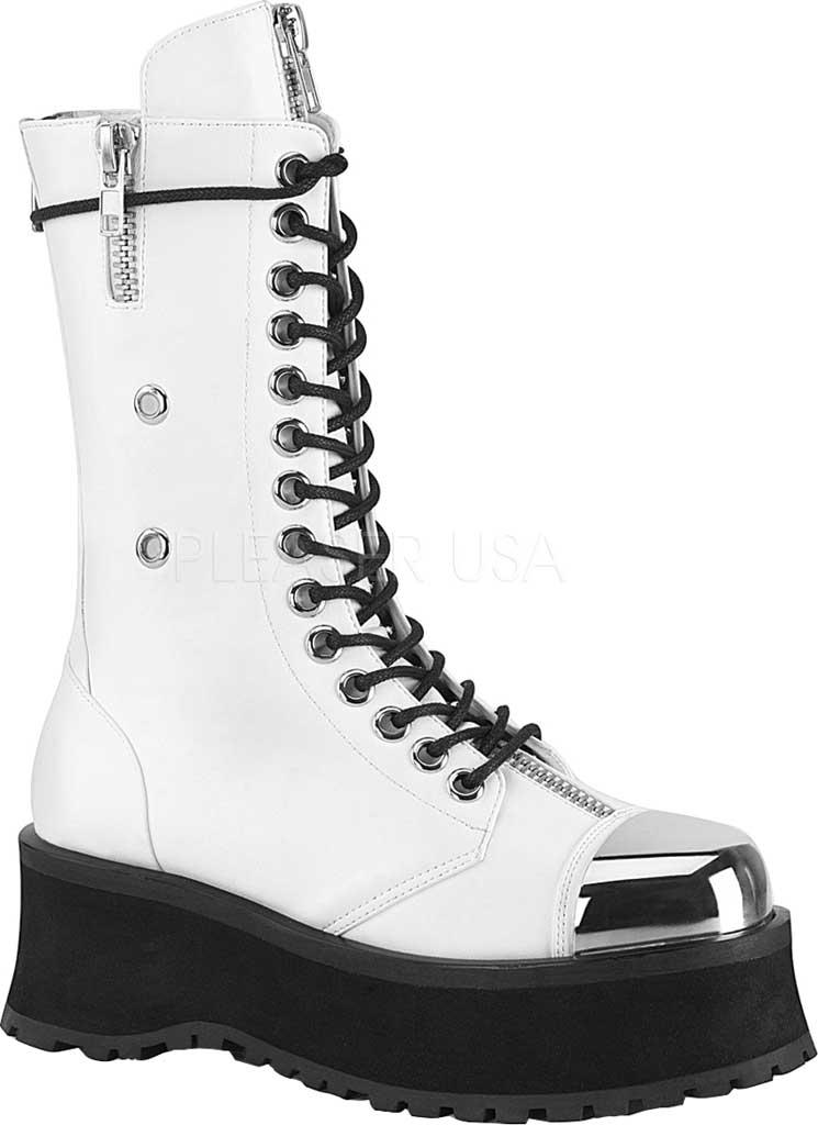 Men's Demonia Gravedigger 14 Mid Calf Boot, White Vegan Leather, large, image 1
