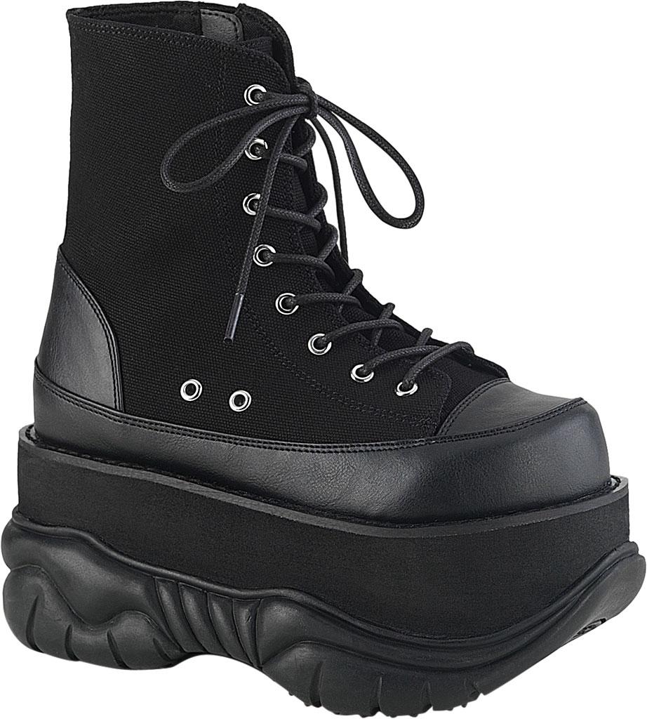 Men's Demonia Neptune 115 Platform Ankle Boot, Black Canvas/Vegan Leather, large, image 1