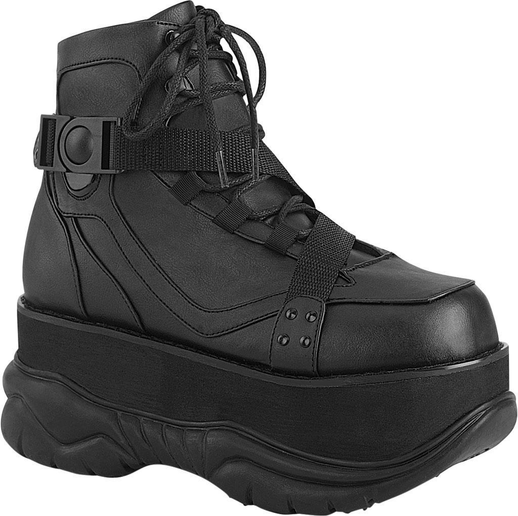 Men's Demonia Neptune 181 Platform Ankle Boot, Black Vegan Leather, large, image 1