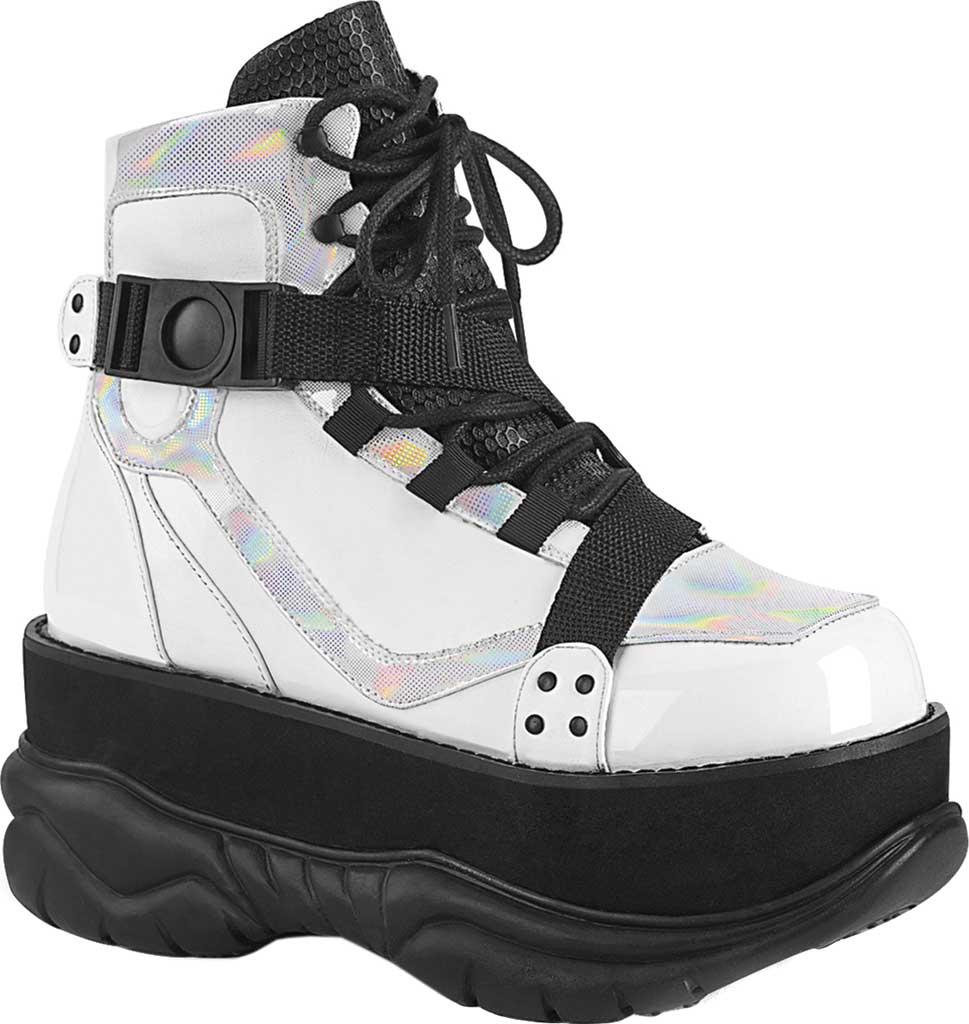 Men's Demonia Neptune 181 Platform Ankle Boot, White Multi Vegan Leather, large, image 1