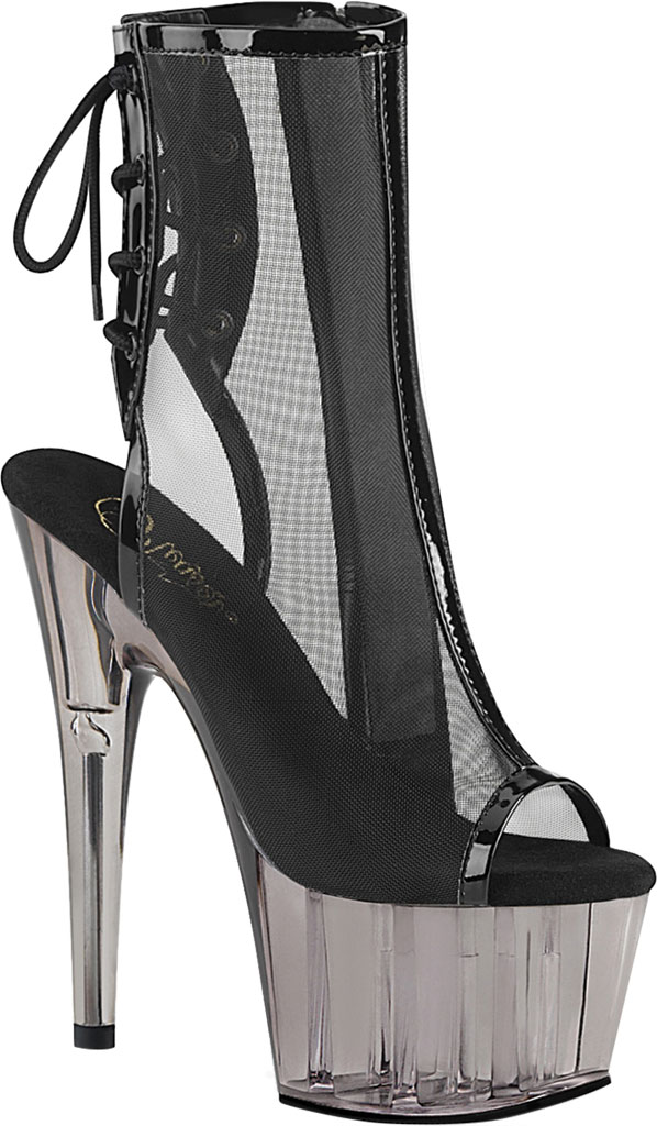 Women's Pleaser Adore 1018MSHT Heeled Open Toe Bootie, Black Patent Mesh/Smoke Tinted, large, image 1