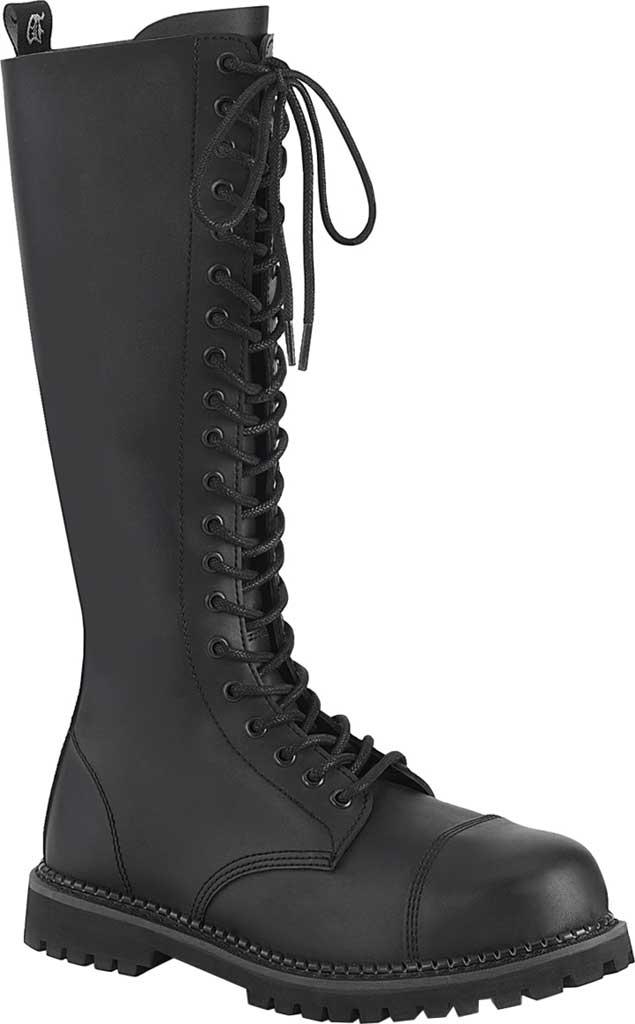 Men's Demonia Riot 20 Steel Toe Boot, Black Vegan Leather, large, image 1