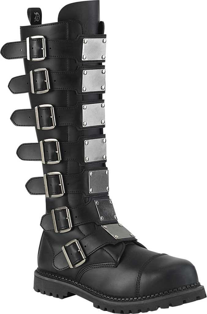 Men's Demonia Riot 21MP Steel Toe Boot, Black Vegan Leather, large, image 1