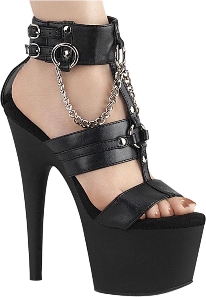 Women's Pleaser Adore 761 Chain T Strap Sandal, Black/Black Matte Faux Leather, large, image 2