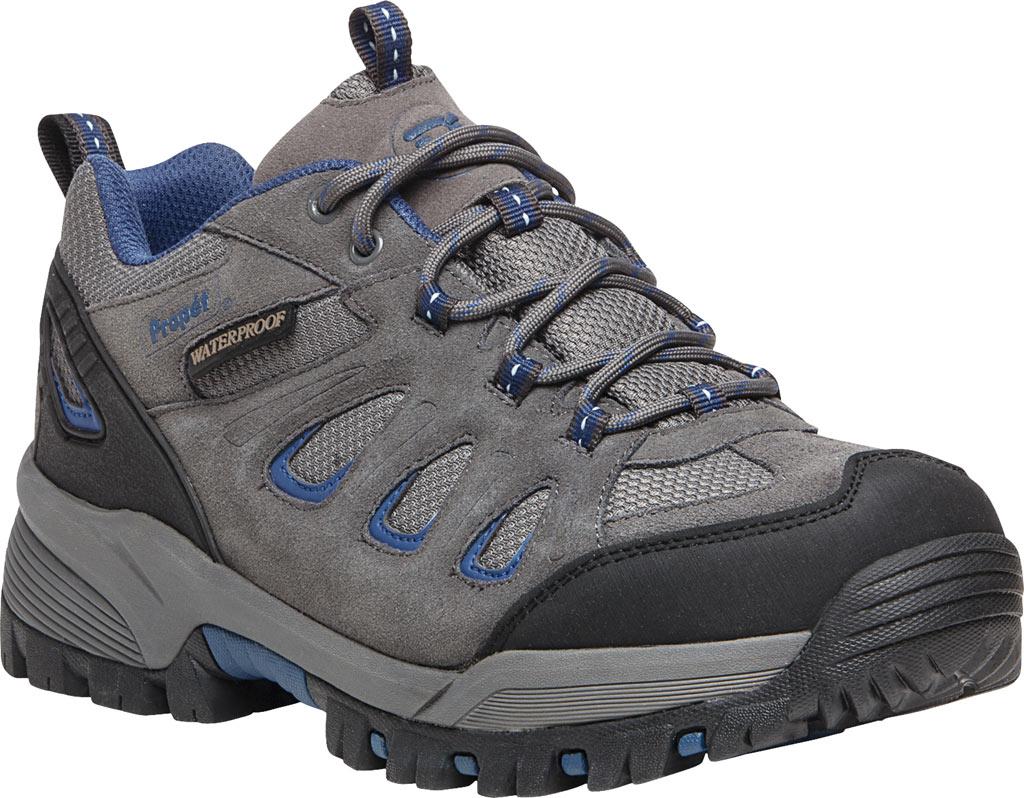Men's Propet Ridge Walker Low Hiking Shoe, Grey/Blue Suede/Mesh, large, image 1
