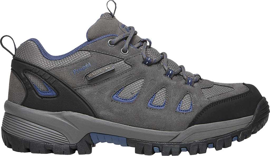 Men's Propet Ridge Walker Low Hiking Shoe, Grey/Blue Suede/Mesh, large, image 2