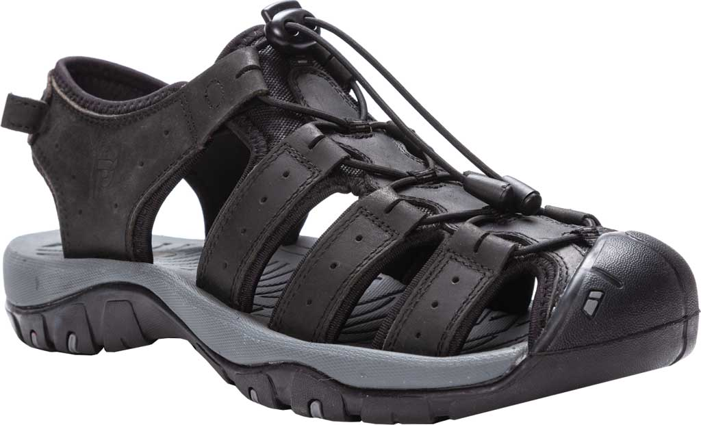 Men's Propet Kona Fisherman Sandal, Black Full Grain Leather, large, image 1