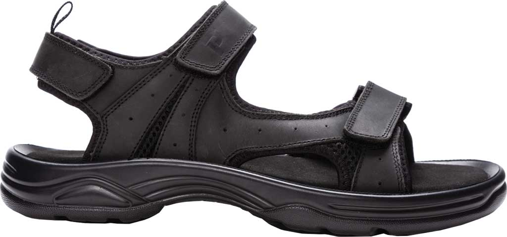 Men's Propet Daytona Adjustable Strap Sandal, Black Waxy Nubuck, large, image 2