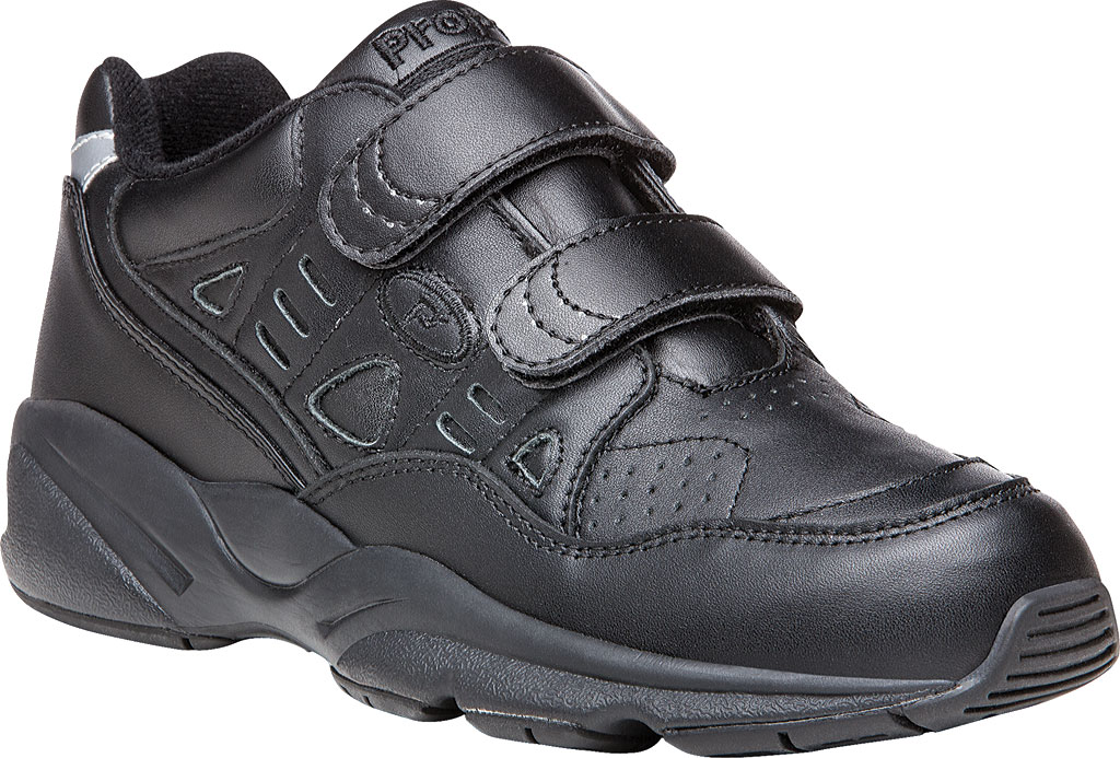 Men's Propet Stability Walker Strap Shoe, Black Full Grain Leather, large, image 1