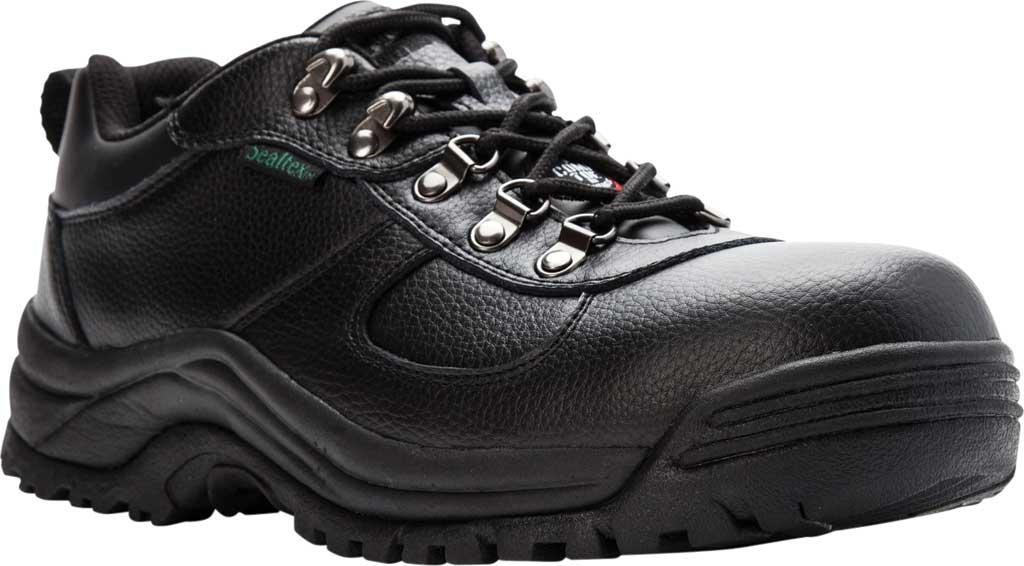 Men's Propet Shield Walker Low Safety Shoe, Black Full Grain Leather, large, image 1