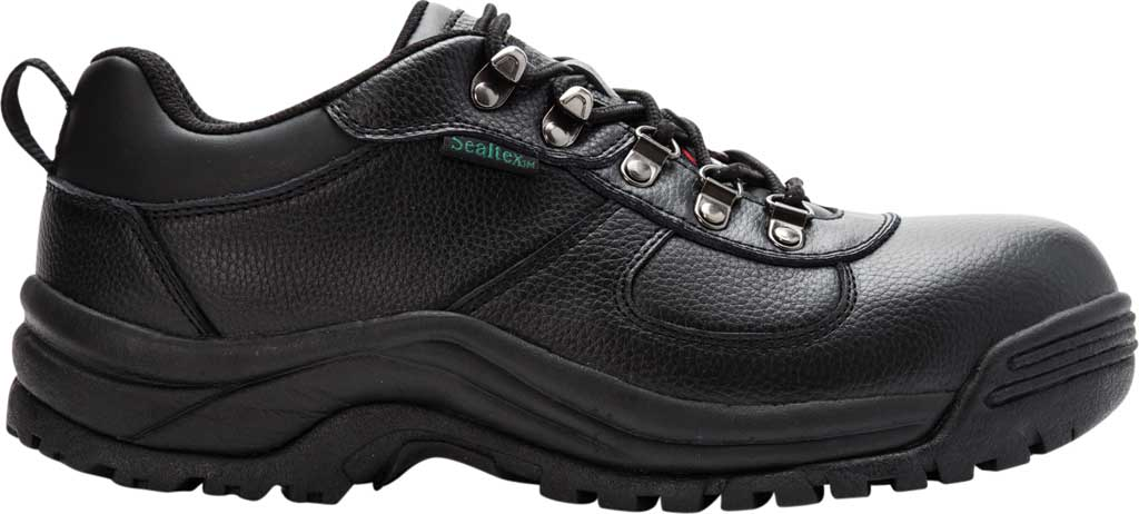 Men's Propet Shield Walker Low Safety Shoe, Black Full Grain Leather, large, image 2