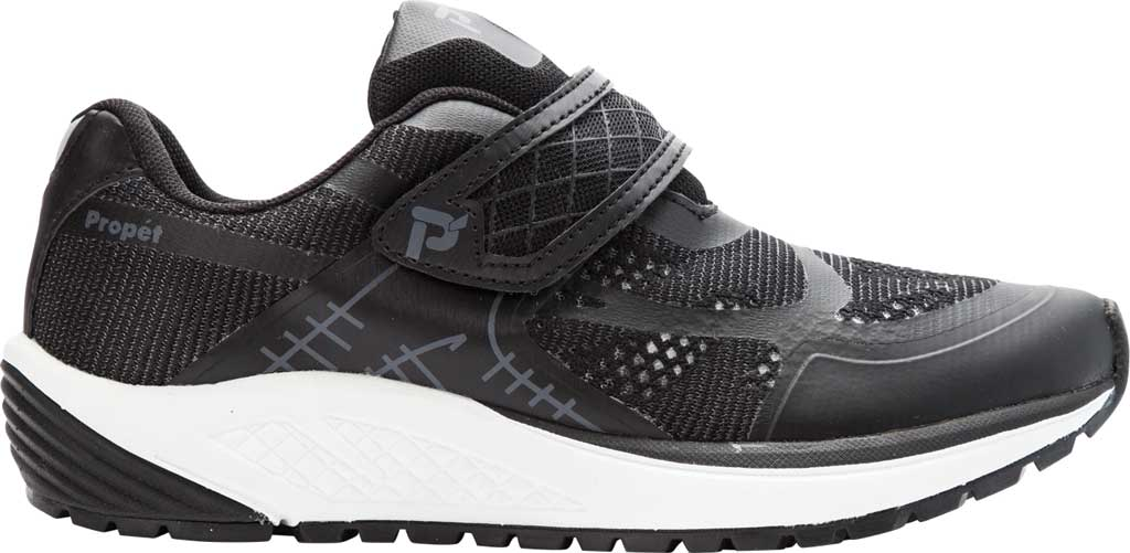 Women's Propet One Strap Sneaker, Black/Grey Mesh, large, image 2