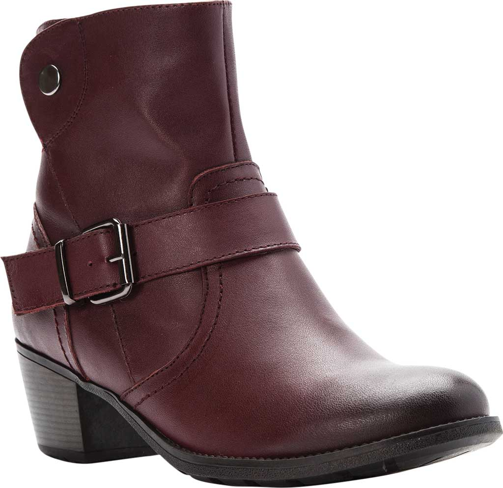 Women's Propet Tory Ankle Bootie, Burgundy Velour Full Grain Leather, large, image 1