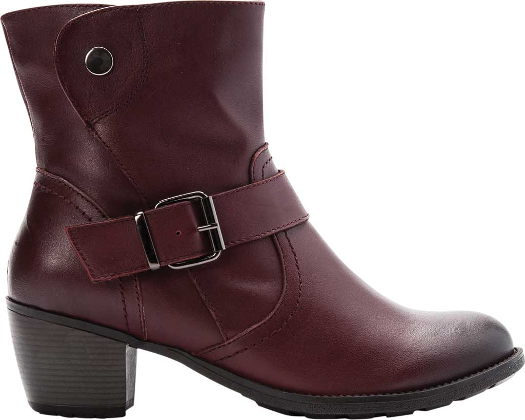 Women's Propet Tory Ankle Bootie, Burgundy Velour Full Grain Leather, large, image 2