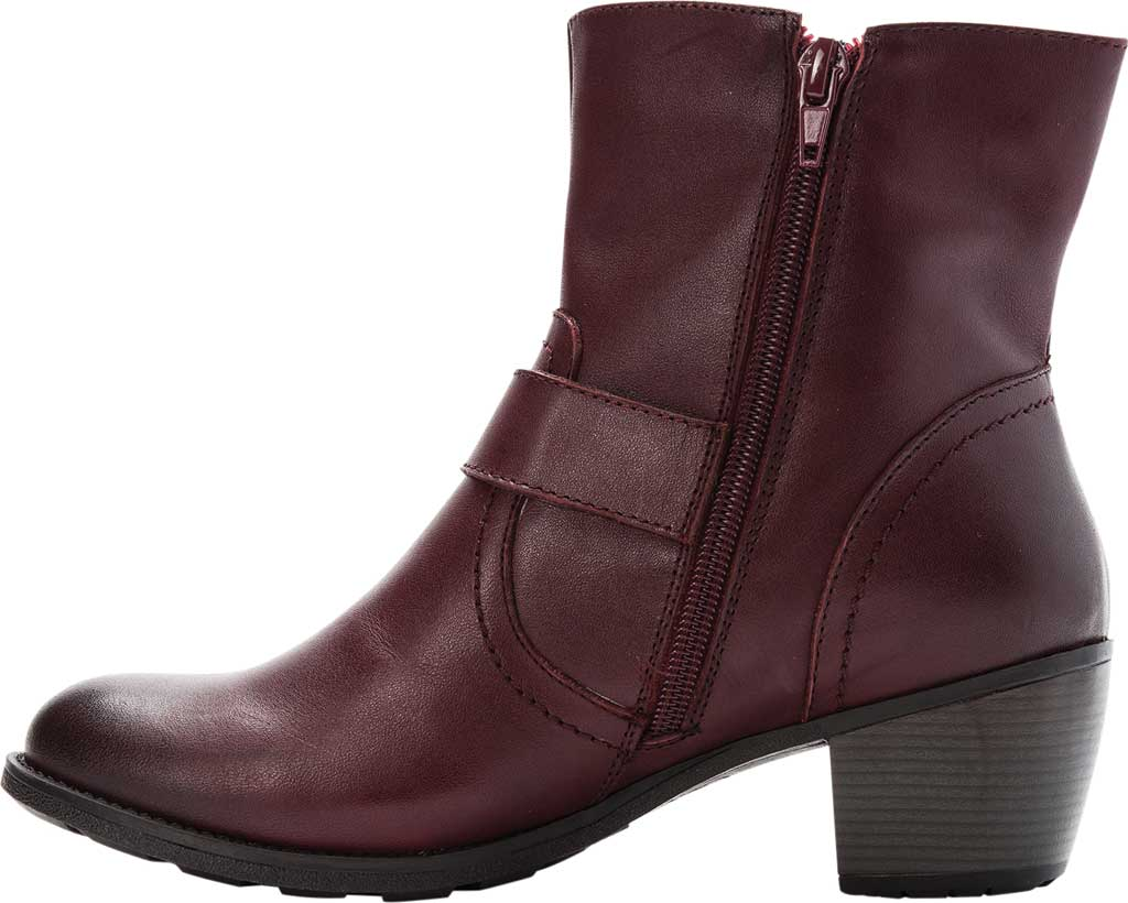 Women's Propet Tory Ankle Bootie, Burgundy Velour Full Grain Leather, large, image 3