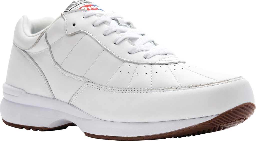 Men's Propet Walker Sneaker, White Leather, large, image 1