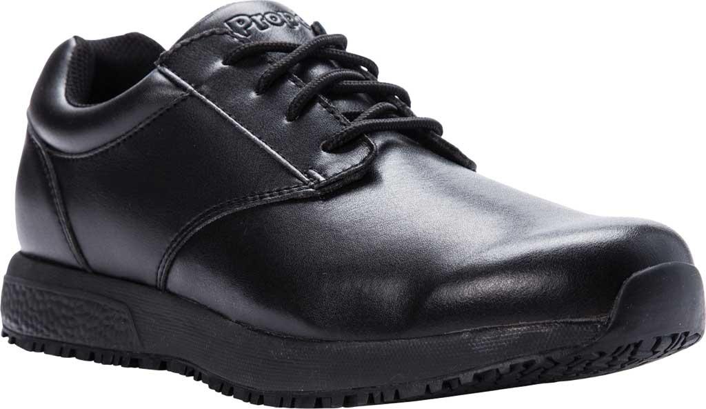 Men's Propet Spencer Sneaker, Black Leather, large, image 1
