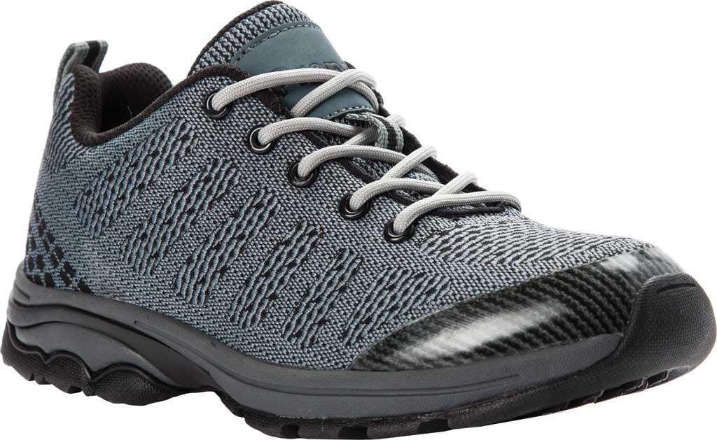Women's Propet Petra Sneaker, Dark Grey/Black Waterproof Knit, large, image 1
