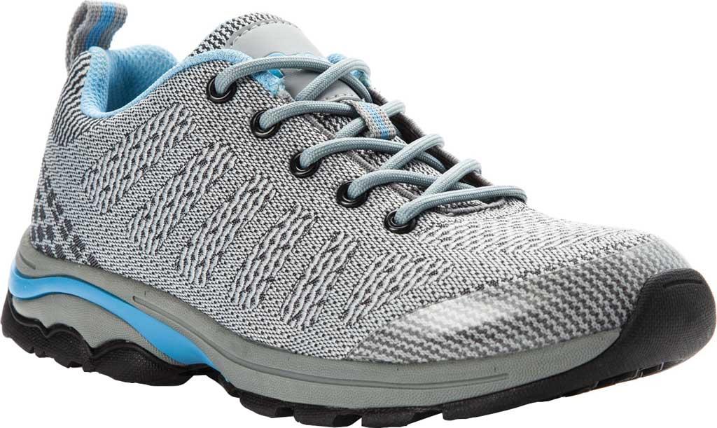 Women's Propet Petra Sneaker, Light Grey/Light Blue Waterproof Knit, large, image 1