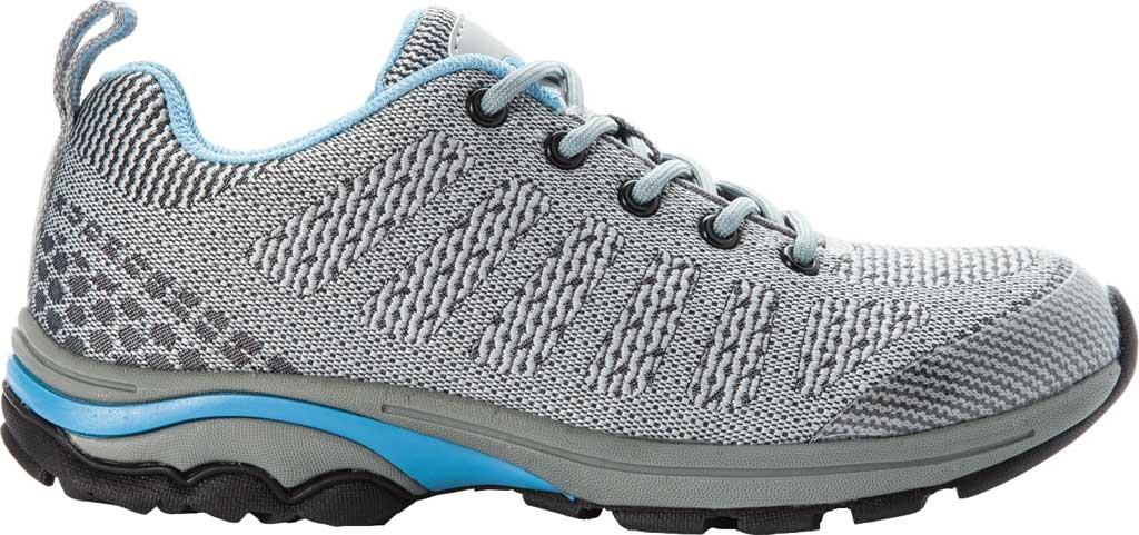 Women's Propet Petra Sneaker, Light Grey/Light Blue Waterproof Knit, large, image 2