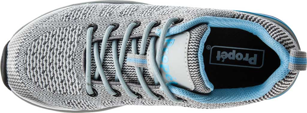 Women's Propet Petra Sneaker, Light Grey/Light Blue Waterproof Knit, large, image 4