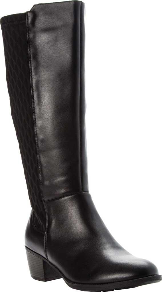 Women's Propet Talise Wide Calf Boot, Black Full Grain Leather/Neoprene, large, image 1