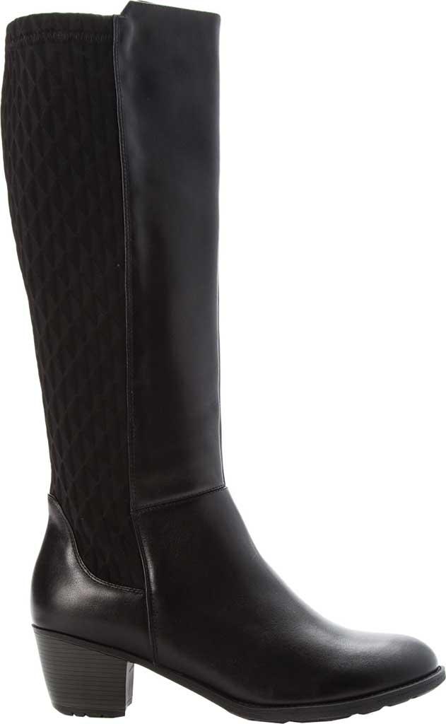 Women's Propet Talise Wide Calf Boot, Black Full Grain Leather/Neoprene, large, image 2