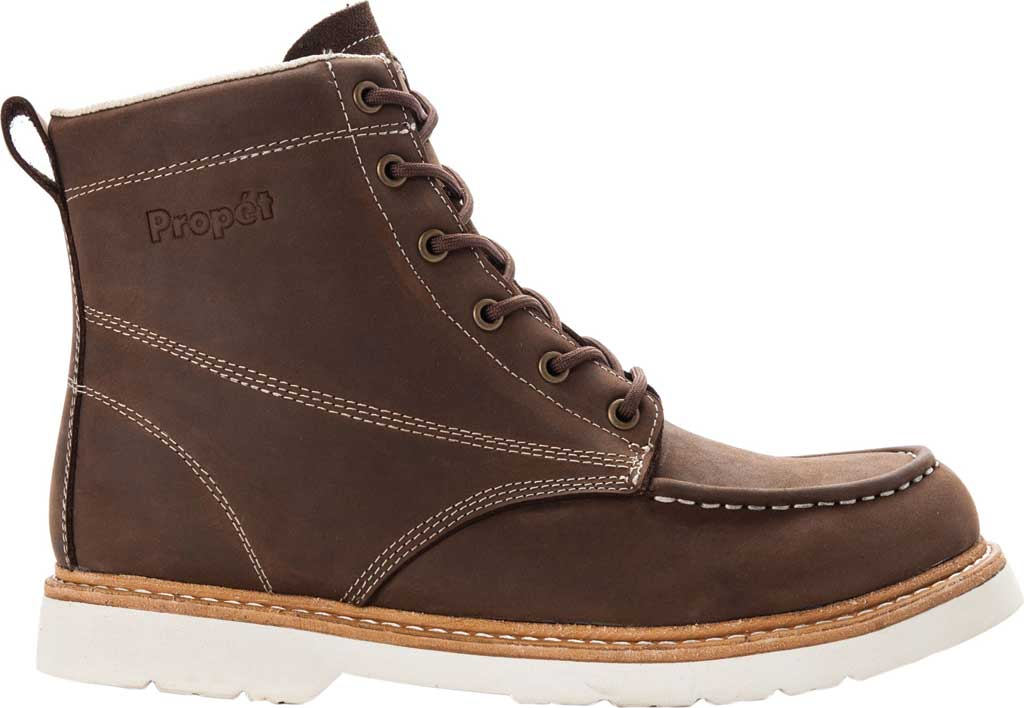 Men's Propet Watson Moc Toe Boot, Brown Crazy Horse Leather, large, image 2