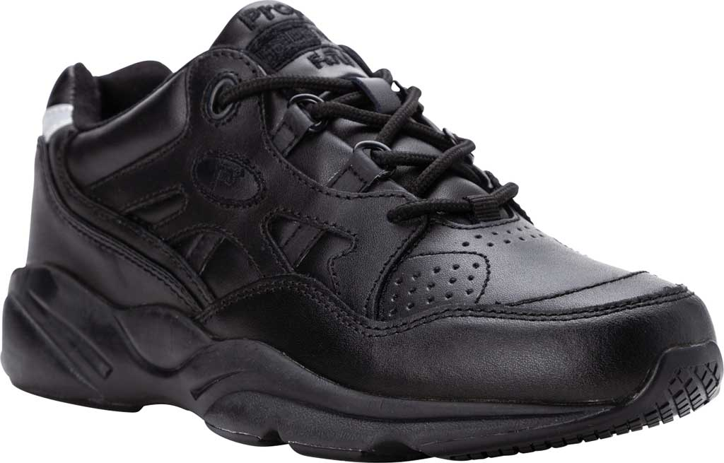 Men's Propet Stark Sneaker, Black Leather, large, image 1
