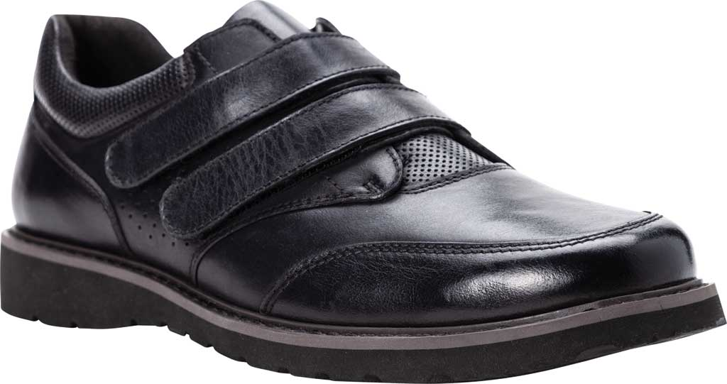 Men's Propet Garrett Strap Orthopedic Shoe, Black Full Grain Leather, large, image 1