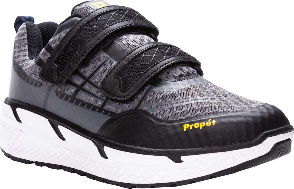 Men's Propet Ultra Strap Sneaker, Grey/Black Knit Mesh, large, image 1