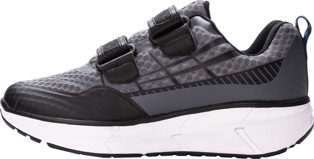 Men's Propet Ultra Strap Sneaker, Grey/Black Knit Mesh, large, image 3