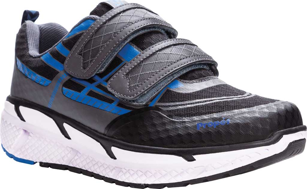 Men's Propet Ultra Strap Sneaker, Black/Blue Knit Mesh, large, image 1