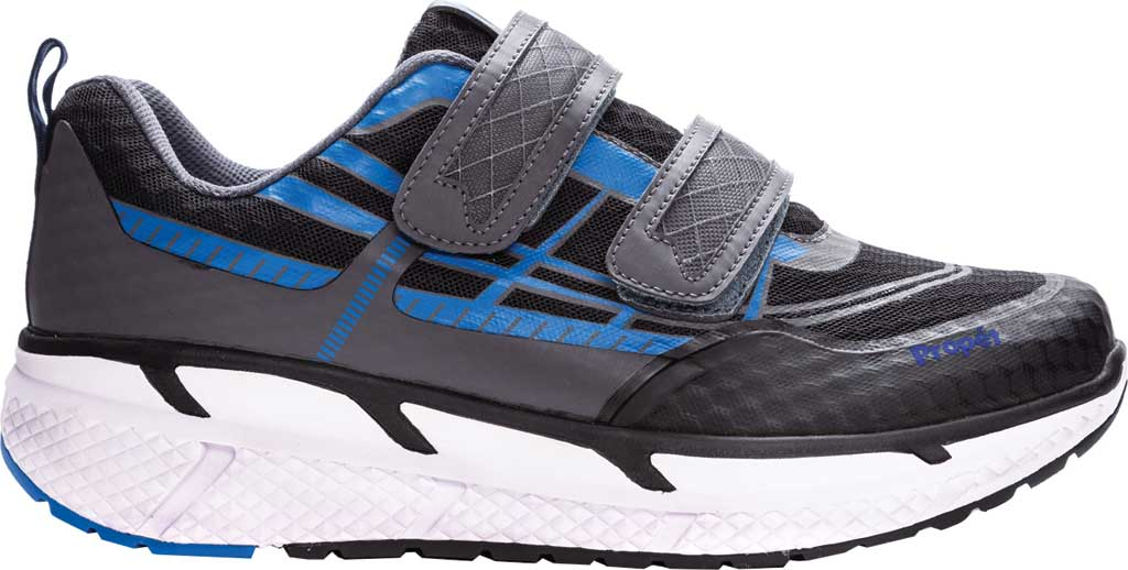 Men's Propet Ultra Strap Sneaker, Black/Blue Knit Mesh, large, image 2