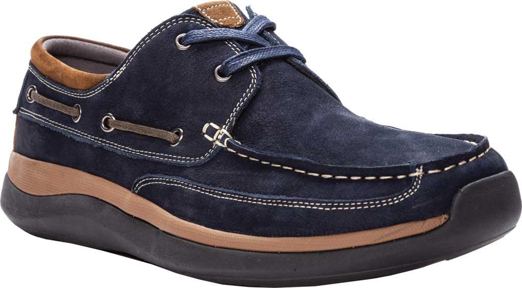 Men's Propet Pomeroy Boat Shoe, Navy Nubuck, large, image 1