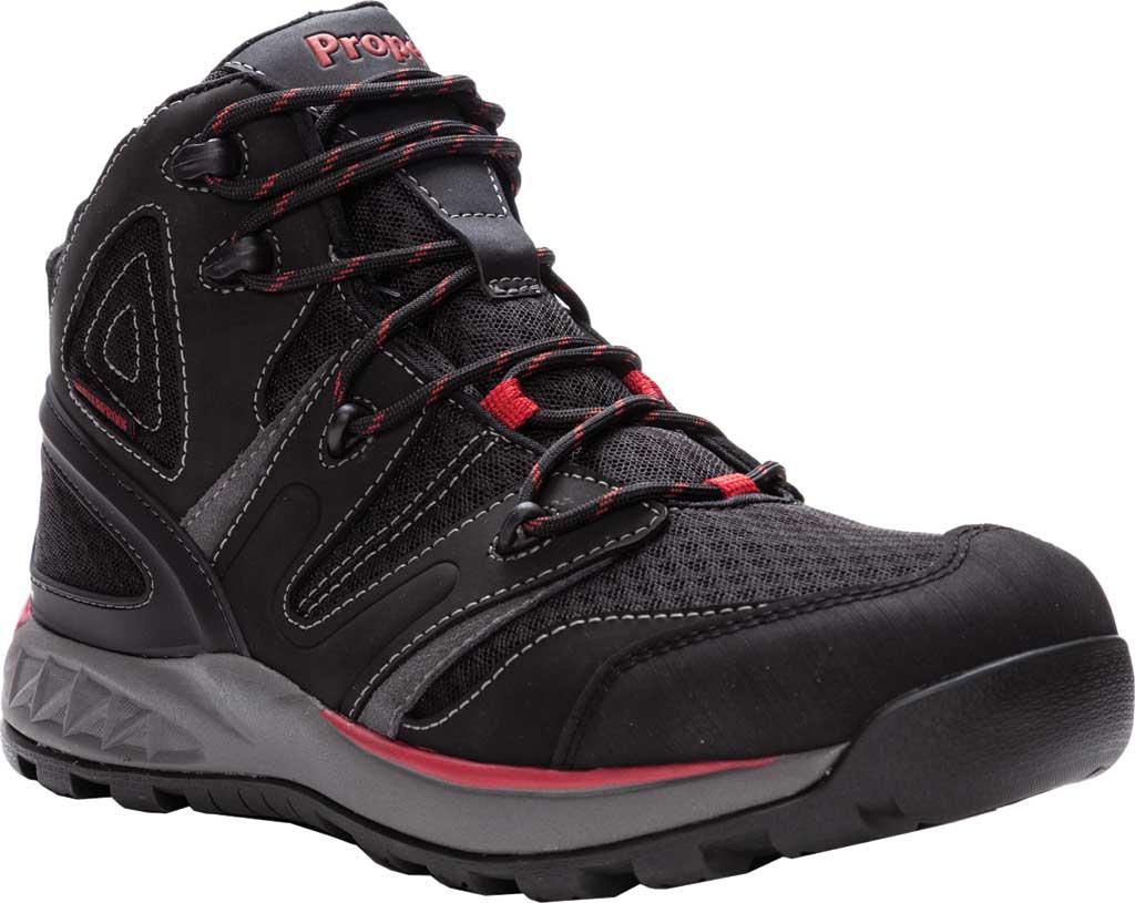 Men's Propet Veymont Waterproof Hiking Boot, Black/Red Nubuck/Mesh, large, image 1