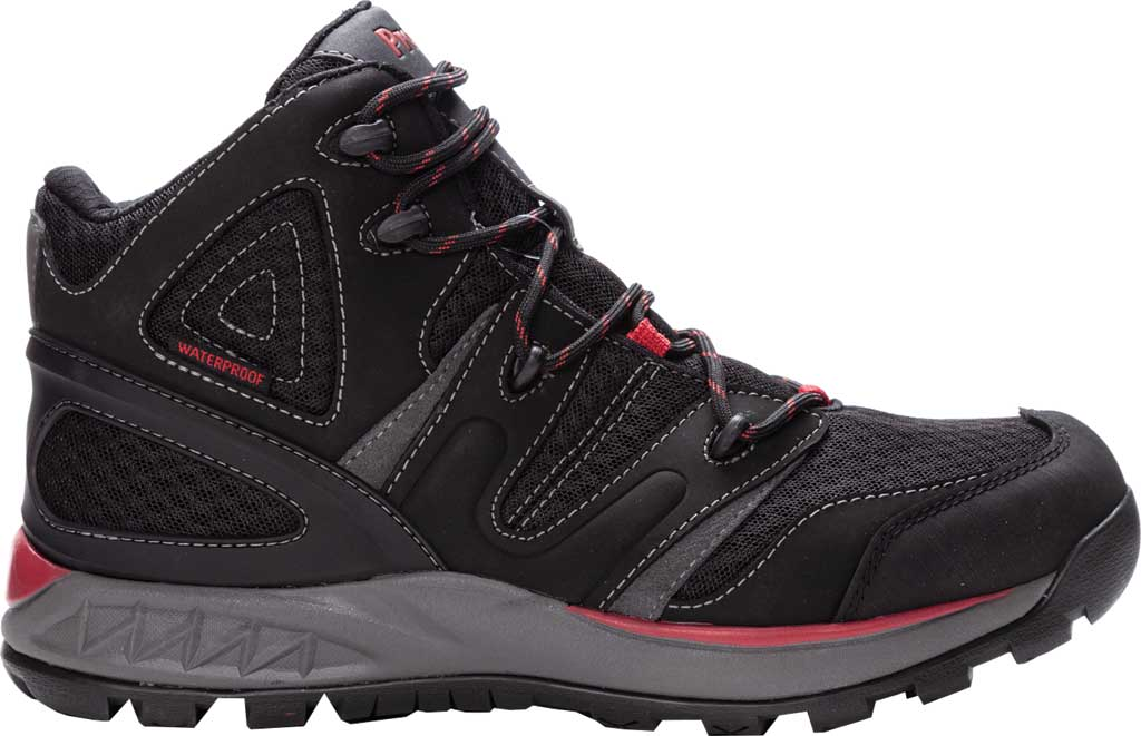 Men's Propet Veymont Waterproof Hiking Boot, Black/Red Nubuck/Mesh, large, image 2