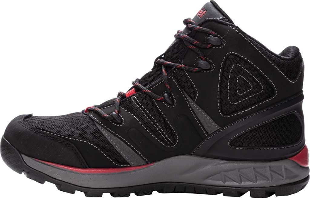 Men's Propet Veymont Waterproof Hiking Boot, Black/Red Nubuck/Mesh, large, image 3
